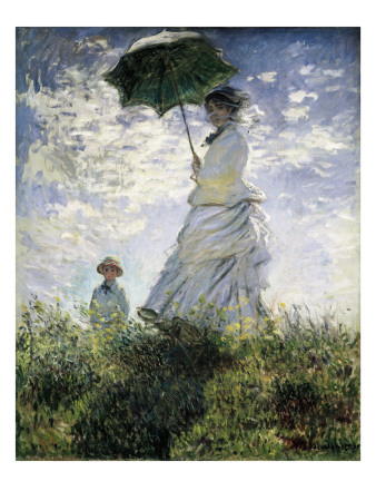 Woman with a Parasol - Madame Monet and Her Son Premium Giclee Print