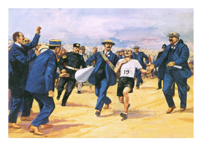 A depiction of Dorando Pietri finishing the 1908 Olympic Marathon in London