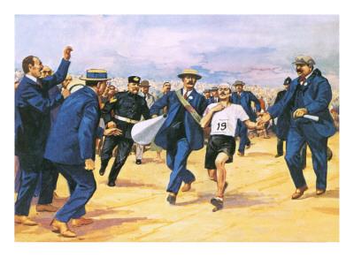 A depiction of Dorando Pietri finishing the 1908 Olympic Marathon in London
