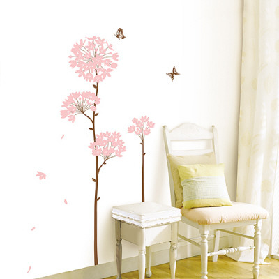 Long Stem Pink Flower Butterfly Petals Posters