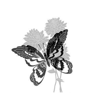 Greyscale Print of Butterfly on Flowers Posters