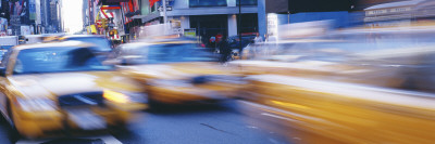 Yellow Taxis on the Road, Times Square, Manhattan, New York City, New York State, USA,Panoramic  Images