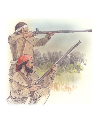 Two Corpsmen are Aiming their Firearms at an Unseen Object