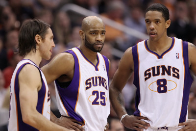 Dallas Mavericks v Phoenix Suns, Phoenix, AZ - February 17: Steve Nash, Vince Carter and Channing F