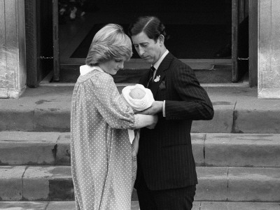 Princess Diana with baby Prince William leaving hospital with Prince Charles, June 1982