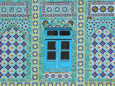 Intricate Tiling Round a Blue Window at the Shrine of Hazrat Ali