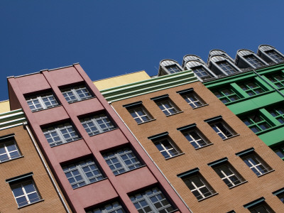 Colourful Apartment Facades on Zimmerstrasse, Mitte