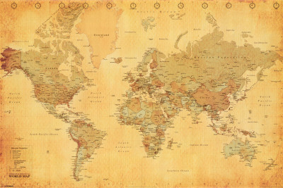 World Map - Vintage Style Poster