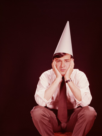 Man Wearing Dunce's Hat