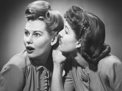 Two Women Gossiping in Studio (B&W)