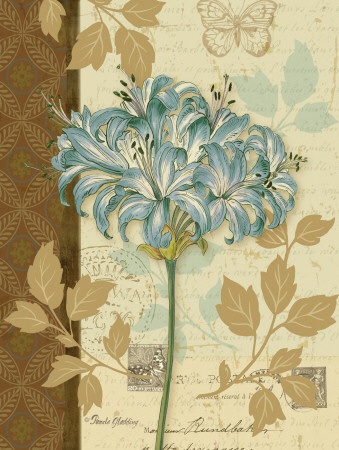 Antique feel blue flower painting - poster art print wall decor