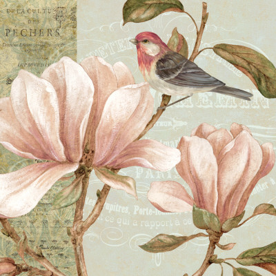 Delicate magnolia pink flower painting with bird - art print poster wall decor