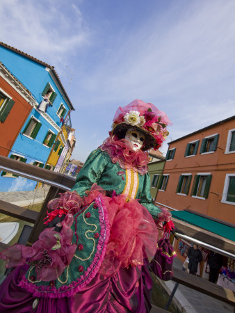 Woman in Costume For the Annual Carnival Festival, Burano Island, Venice, Italy