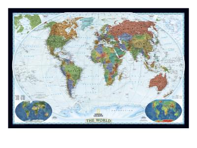World Political Map, Decorator Style Art Print