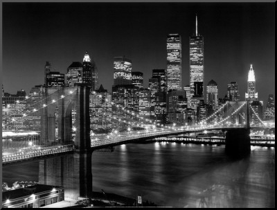 New York, New York, Brooklyn Bridge Mounted Print