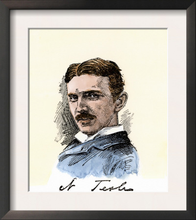 Inventor Nikola Tesla, with His Signature