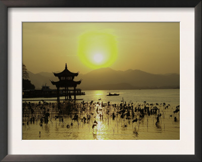 Westlake with Chineese Pavillon During Sunset, China Posters