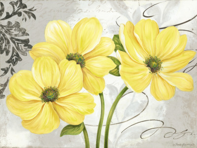 Flower art: Contemporary Yellow flowers and damask painting - art print poster wall decor