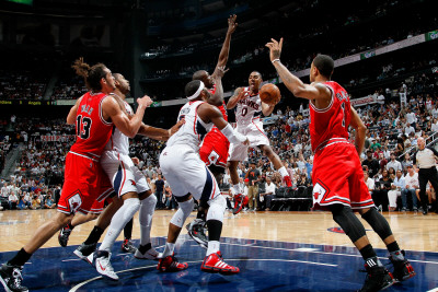 Chicago Bulls v Atlanta Hawks - Game Four, Atlanta, GA - MAY 8: Josh Smith and Jeff Teague