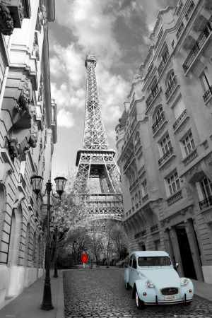 Paris - Red Girl, Blue Car Posters