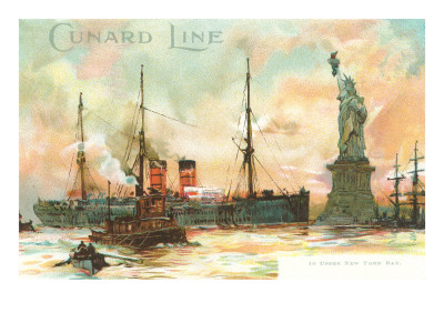 Cunard passing the Statue of Liberty historical print.