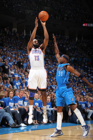 Dallas Mavericks v Oklahoma City Thunder - Game Three, Oklahoma City, OK - MAY 21: James Harden and