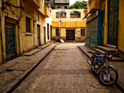 Back Street of Luxor Town, Egypt with Motorbike