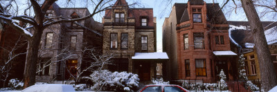 Houses in Winter, Chicago, Cook County, Illinois, USA
