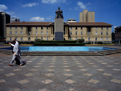 Statue of Jomo Kenyatta with a Courthouse in the Background, Nairobi Law Courts, Nairobi, Kenya