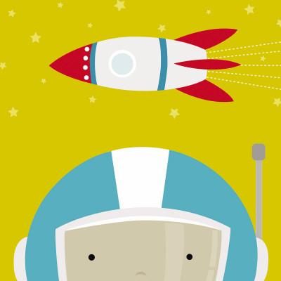 Peek-a-Boo Heroes: Astronaut - Art Print