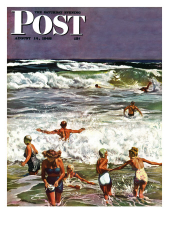 'Surf Swimming,' Saturday Evening Post Cover, August 14, 1948 Posters