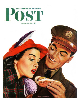 """""""Hot Dog for a Hot Date,"""" Saturday Evening Post Cover, October 10, 1942"""