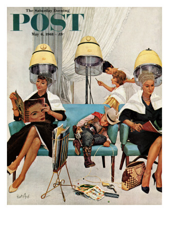 'Cowboy Asleep in Beauty Salon,' Saturday Evening Post Cover, May 6, 1961 Posters
