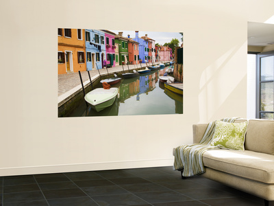 Colorful Burano City Homes Reflecting in the Canal, Italy Posters