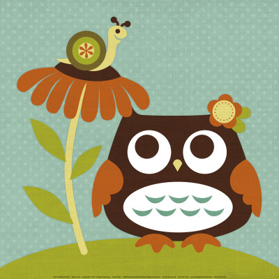 Owl Looking at Snail - Art Print