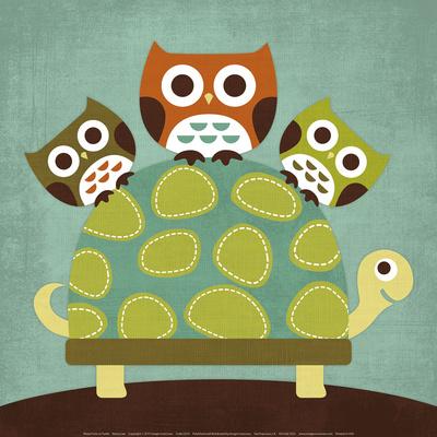 Three Owls on Turtle - Art Print