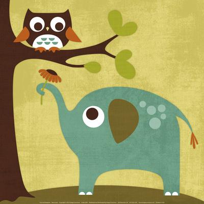 Owl and Elephant - Art Print