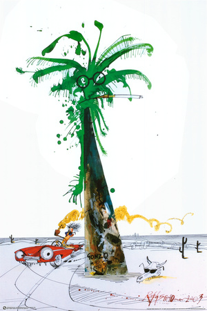 Hunter Driving By Palm - Ralph Steadman