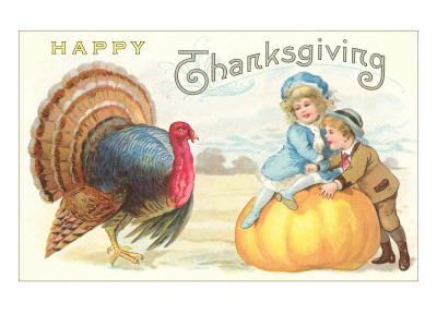 Children, Turkey and Pumpkin