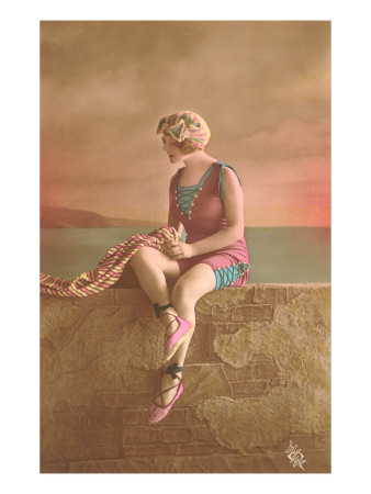 Woman in Extensive Bathing Suit with Ballet Slippers