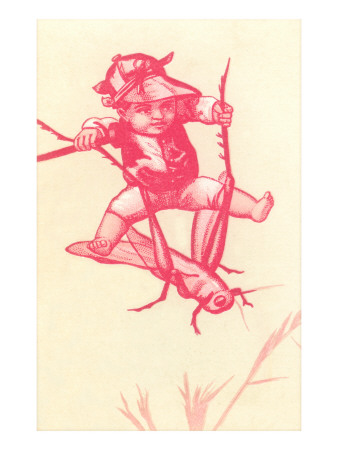 Victorian Red-Toned Boy Riding Cricket