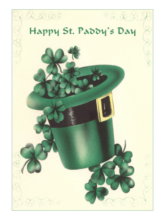 Leprechaun's Hat with Four-Leaf Clovers