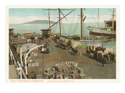 San Francisco waterfront in the 1800s.