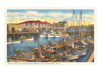 The fishing fleet at dock at Fisherman's Wharf in San Francisco.
