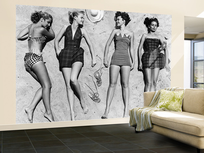 Models Sunbathing, Wearing Latest Beach Fashions Posters