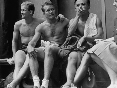 US Divers Bruce Harlan, Miller Anderson and Sammy Lee Sitting on Bench