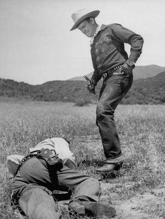 Singing Cowboy G. Autry Enacting Violation of Model Cowboy's Code - Kicking a Man When He's Down