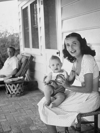 Author Erskine Caldwell on Porch of Desert Home with His Third Wife and their 9-Month-Old Son Jay