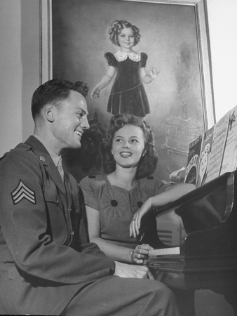 Actress Shirley Temple, Sitting at the Piano with Sgt. John Agar