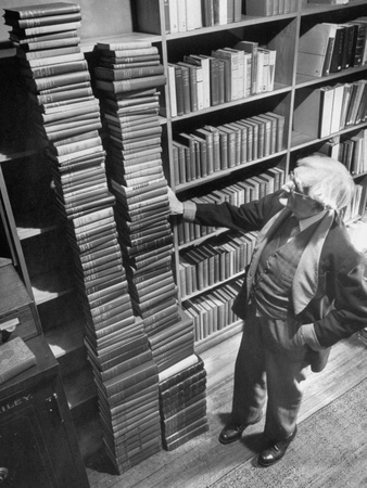 Horticulturist Dr. Liberty Hyde Bailey, Standing Beside Two Stacks of Books He Has Written